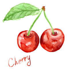 Hand drawn watercolor painting cherry on white background.