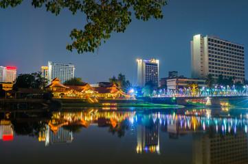 Night view Ping River Chiang Mai,Chiangmai,Thailand.