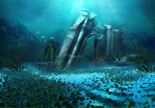 3D Rendered Underwater Fantasy Landscape