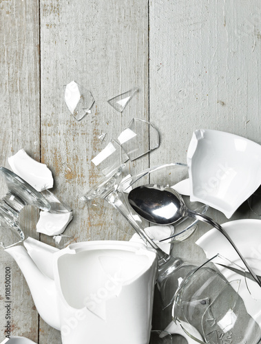 """""""Glass broken dishes wine glass tea cups sauser spoon with fragme"""" Stock photo and royalty-free images on Fotolia.com - Pic 97530012"""