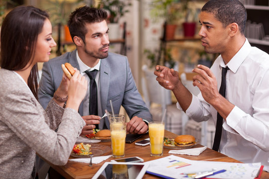 group of young Business people enjoy in lunch at restaurant