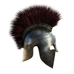 Spartan helmet on an isolated white background.