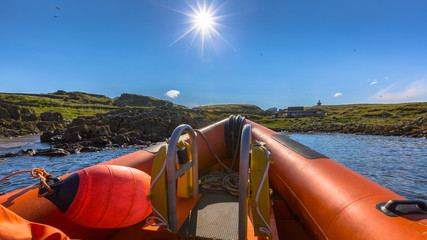 Rigid inflatable boat sunny day