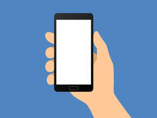 Human hand holding smartphone / smart phone flat vector illustration