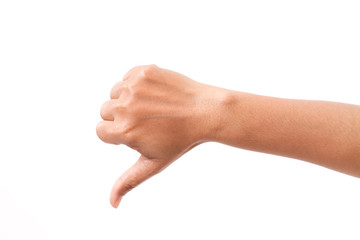hand with thumb down gesture, isolated
