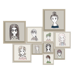 Cartoon characters as women in brown frame. Illustration Hand drawn for decoration art work.