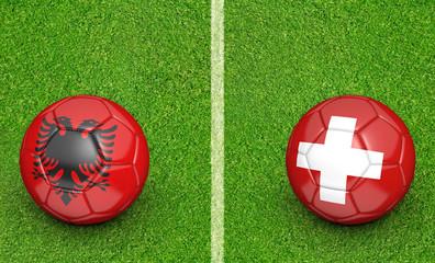 Team balls for Albania vs Switzerland 2016 football tournament match in France, 3D rendering