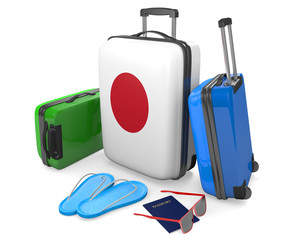 Travel luggage items and accessories for a vacation to or from Japan, 3D rendering