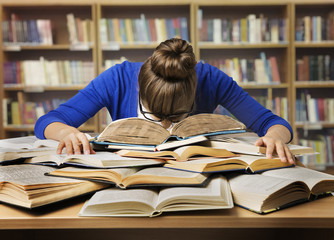 Student Studying Hard Exam, Sleeping on Books Read in Library