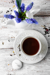 Ceramic cup with tea