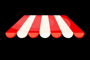 Striped tent on a black background. Vector illustration.