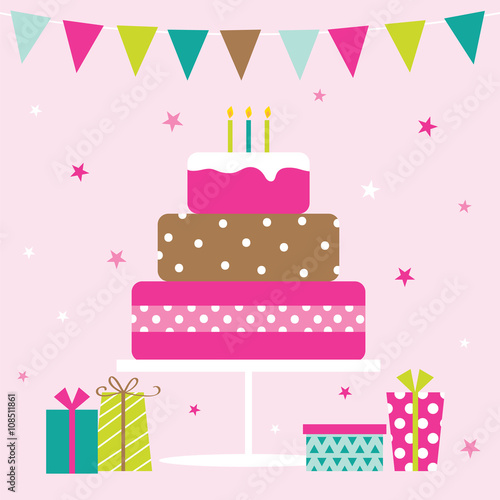 birthday party design with sweet color suitable for birthday