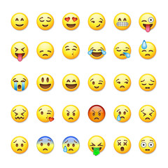Set of emoticons, emoji isolated on