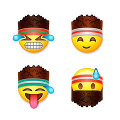 Emoji smiley faces, fitness concept