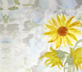 Watercolor Painting Of Flowers Sunflower Summer Card