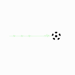 Heart rate signal and football, vector illustration.