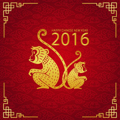 Chinese new year monkey 2016 card and background