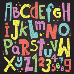 Colorful chalk board letters and numbers. Vintage grunge alphabet vector pack