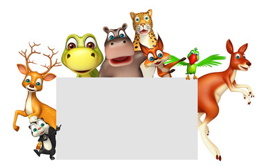 3d rendered illustration of wild animal with white board