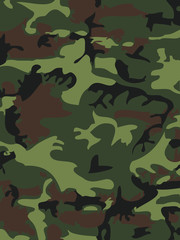 Camouflage pattern background. Woodland style. Vector illustration