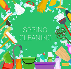 Spring cleaning supplies frame on green. Tools of housecleaning