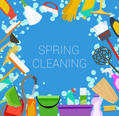 spring cleaning supplies frame, tools housecleaning background