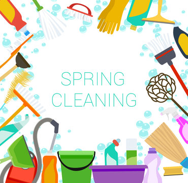 Spring cleaning supplies frame on white Tools of housecleaning