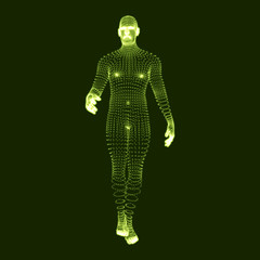 Man Stands on his Feet. 3D Model of Man. Human Body Model. Body Scanning. View of Human Body. Vector Graphics Composed of Particles.