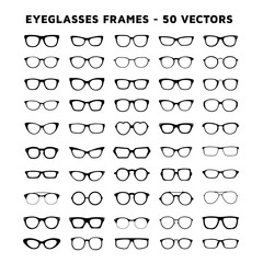 Set of glasses. Sunglasses and eyeglasses vector design icons