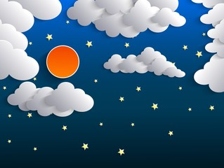 Night background, Moon, Clouds and Stars on dark blue sky