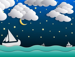 Night background, moon, clouds and stars on dark blue sky on ocean