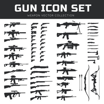 Gun icon set. Weapon vector collection,Pistol icon. gun logo. gun vector element.