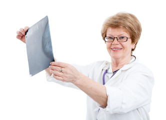 Senior Caucasian doctor holding an X-ray image and looking at camera, isolated on white background
