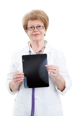 Portrait of an elderly woman doctor holding a x-ray image, isolated on white background