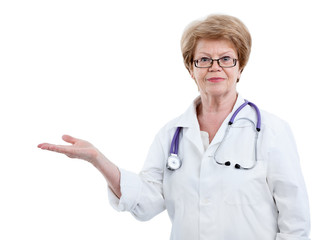 Mature female doctor with outstretched hand towards, isolated on a white background
