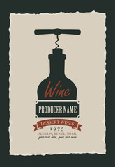 wine label with a picture of the bottle with the corkscrew