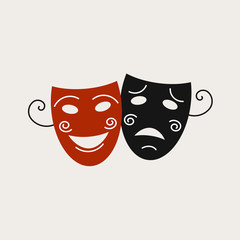 Logo with the image of theatrical masks. It can be used for drama school, theater, playbill or program.