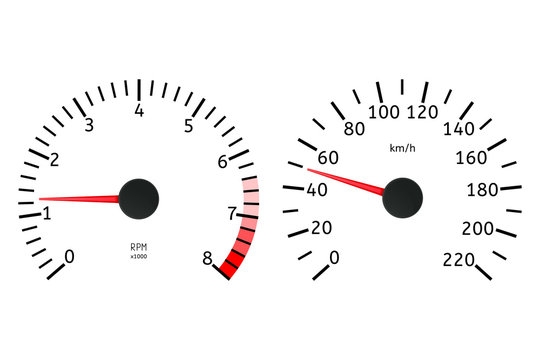 Tachometer and speedometer dial. Dashboard elements.