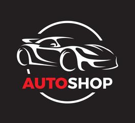 Original auto motor concept design of a super sports vehicle car auto shop logo silhouette on black background. Vector illustration.