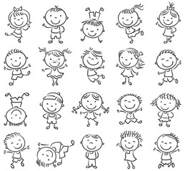 Fototapete - Twenty sketchy happy kids jumping with joy, black and white outline
