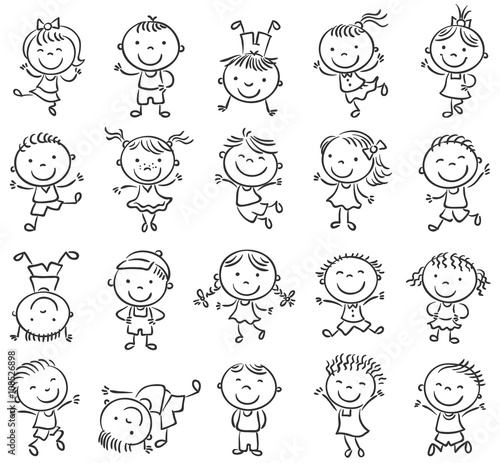 Twenty sketchy happy kids jumping with joy black and white