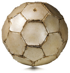 Detail of a old white soccer ball (football) isolated on white background