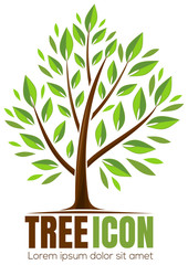 Spring tree icon. Tree icon concept of a stylized tree with leaves. Vector illustration