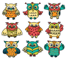 Vector cute owls cartoons isolated.