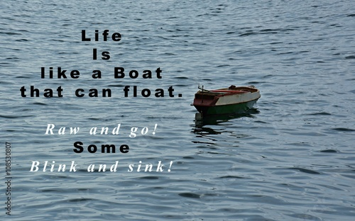 Inspirational Life Quote With Phrase Life Is Like A Boat That Can