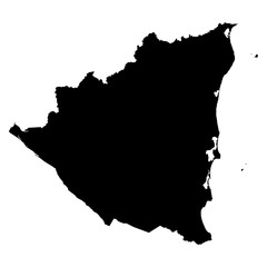 Nicaragua black map on white background vector