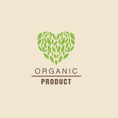 Leaf Heart Above Text Organic Product Logo