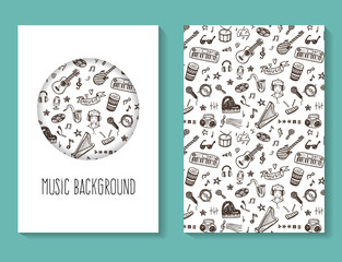 Music doodles vector flyer, brochure, business card template