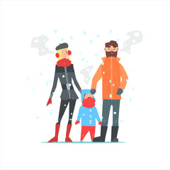 Family Outside In Winter