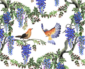 blue wisteria tree and birds